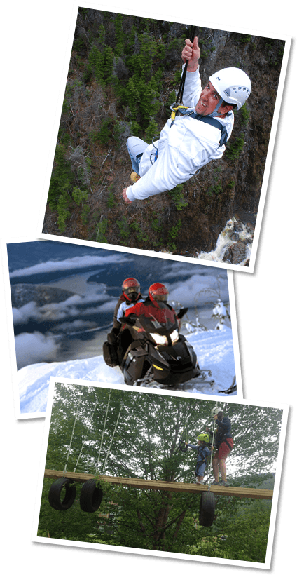 ziplining happy man in a white helmet